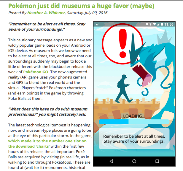 Museums: Jumping on Band Wagon or Going with Trend #PokemonGo