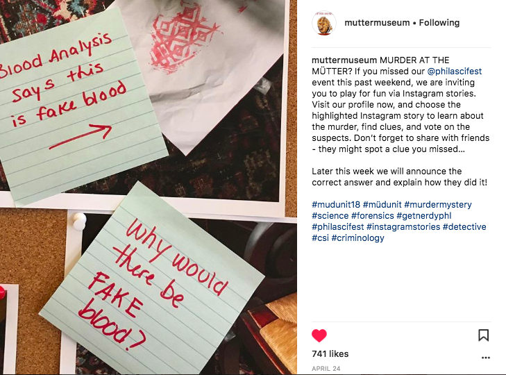 Case study: When @MutterMuseum used Instagram Stories for Murder at the Mütter®